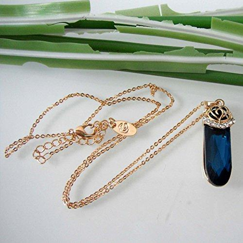 "18k Gold Plated Crystal Oval Sky Blue Zircon Az6031p Pendant Necklace 16""+2"""