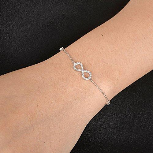 925 Sterling Silver Bling Figure 8 Infinity Pave CZ Woman Link Bracelet Hand Chain Clear