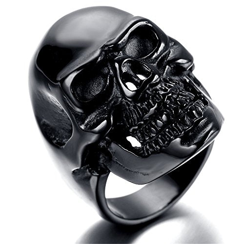 Jewelry Men Stainless Steel Ring, Vintage, Biker, black, skull - InnovatoDesign