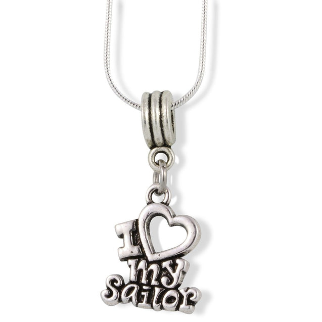 I Love My Sailor Charm Snake Chain Necklace - InnovatoDesign