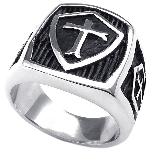 Men Stainless Steel Ring, Vintage Shield Cross, Black - InnovatoDesign