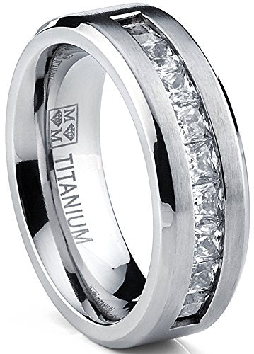 Titanium Men's Wedding Band Engagement Ring with 9 large Princess Cut Cubic Zirconia - InnovatoDesign