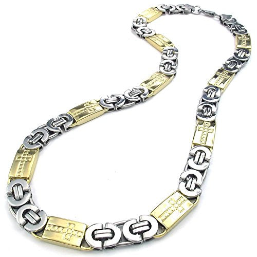 Men Stainless Steel Necklace, Heavy Wide Cross Links Chain, Gold Silver - InnovatoDesign