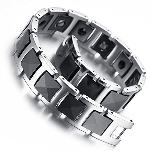 Tungsten Men Bracelet, Black & Silver, Magnetic Hematite