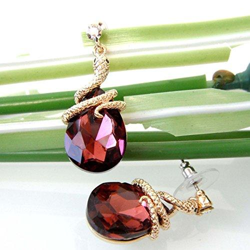18k Gold Plated Crystal Purple Zircon Snake Drop Dangle Earrings
