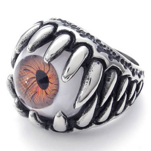 Stainless Steel Gothic Dragon Claw Devil Eye Biker Men Ring, Brown - InnovatoDesign