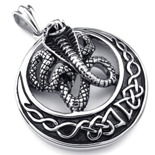 Men Tribal Cobra Snake Stainless Steel Pendant Necklace, Black Silver, 24 inch Chain