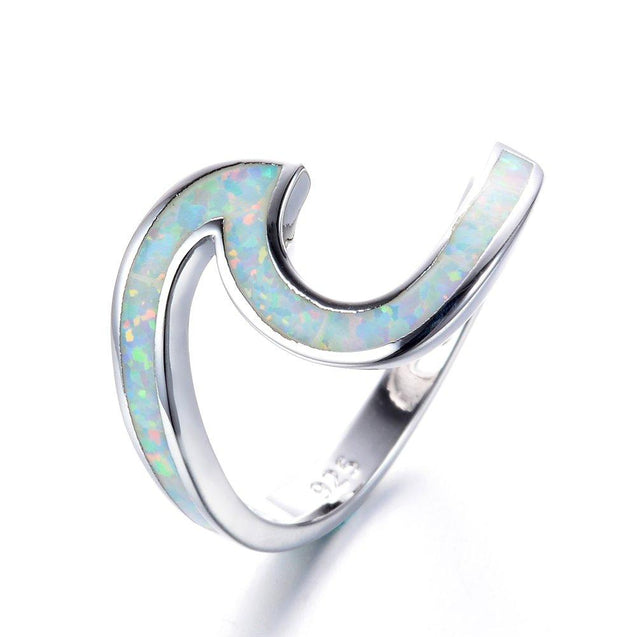 925 Sterling Silver Ring Wave Ocean Beach Lab Created white Opal. Silver Ring sizes 5-10