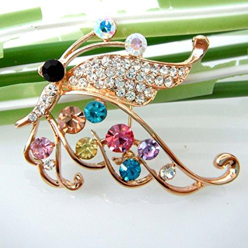 18k Gold Plated Colorful Crystal Flying Butterfly Az7967b Brooch Pin