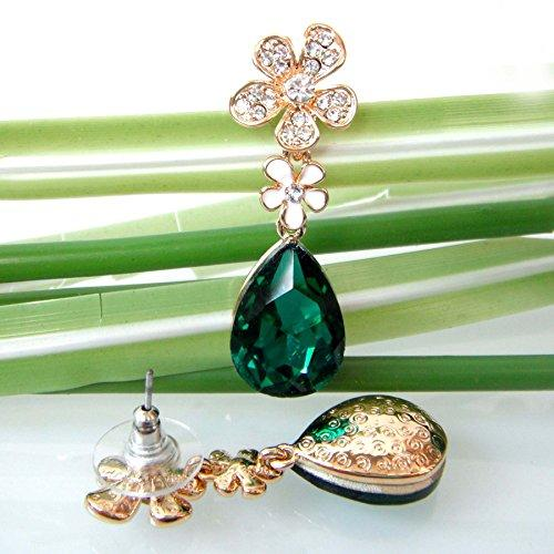18k Gold Plated Crystal Flower Leaves Green Pear-shaped Zirconia Az2408d Drop Dangle Earrings