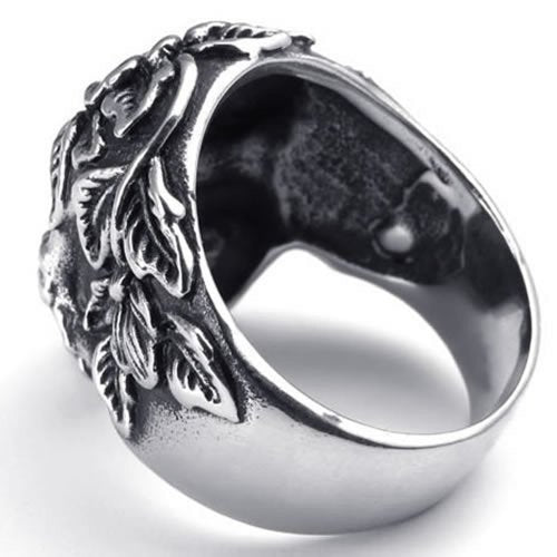Vintage Stainless Steel Gothic Skull Biker Men Ring ,Black - InnovatoDesign