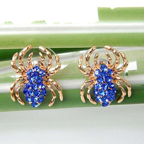 18k Gold Plated Blue Crystal Spider Az2602s Stud Earrings
