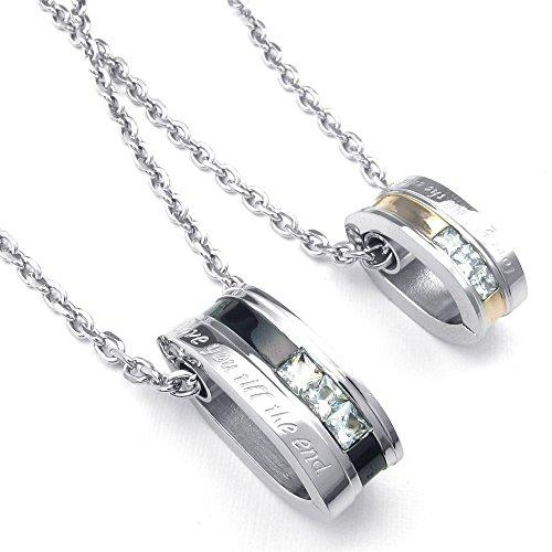 2pcs Men Women CZ Couples Stainless Steel Love Pendant Love Necklace, 18 & 22 inch Chain