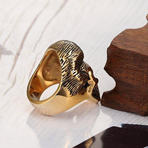 10k Gold Plating Men's Retro Gothic Skull Bone Biker Stainless Steel Ring Band Black,sizes 7 8 9 10 11 12 13