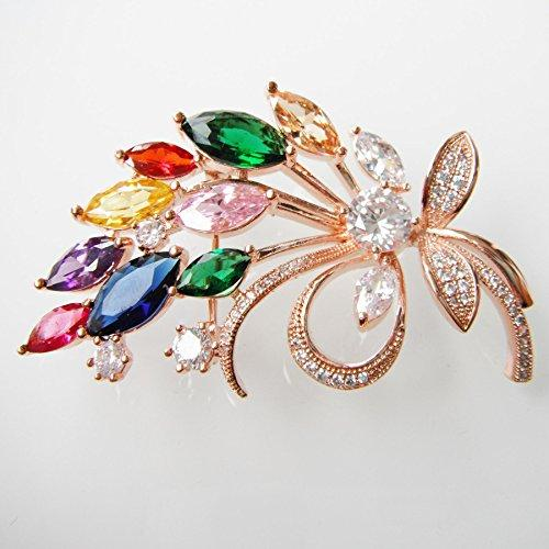 18k Gold Plated Colorful Cubic Zicon Austrian Crystal Flower Az7195b Brooch Pin