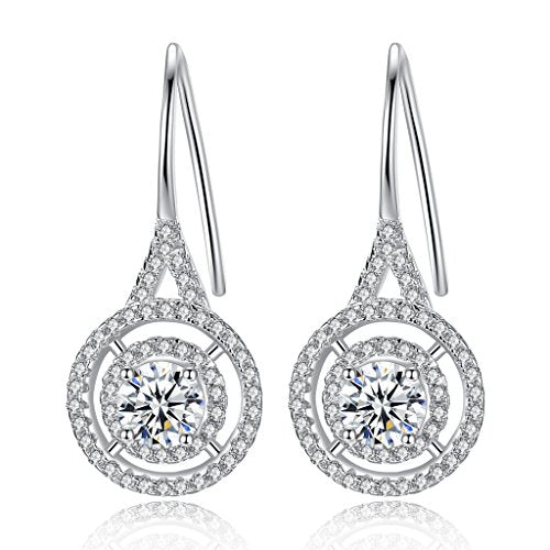 Sterling Silver Cubic Zirconia Elegant Knot Tear Drop Dangle Earrings Clear - InnovatoDesign