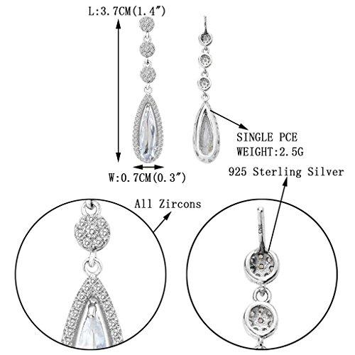 925 Sterling Silver Full CZ Tear Drop Wedding Chandelier Earrings Clear