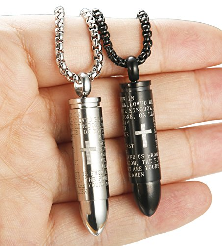Men Women Stainless Steel Bullet Necklace Pendant English Lord's Prayer Chain 22 Inch