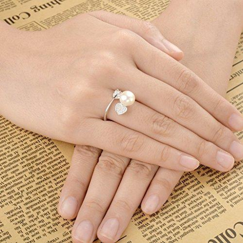 925 Sterling Silver CZ 9MM AAA Freshwater Cultured Pearl Love Heart and Arrow Adjustable Ring