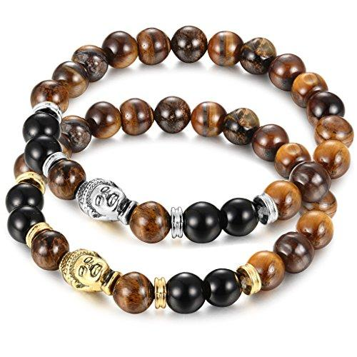 1-2Pcs 8mm Stone Beaded Bracelet for Mens Womens Buddha Bracelet Elastic