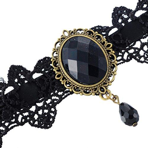 Halloween Vintage Gothic Style Teardrop Bead Charm Black Lace Velvet Choker Collar Necklace