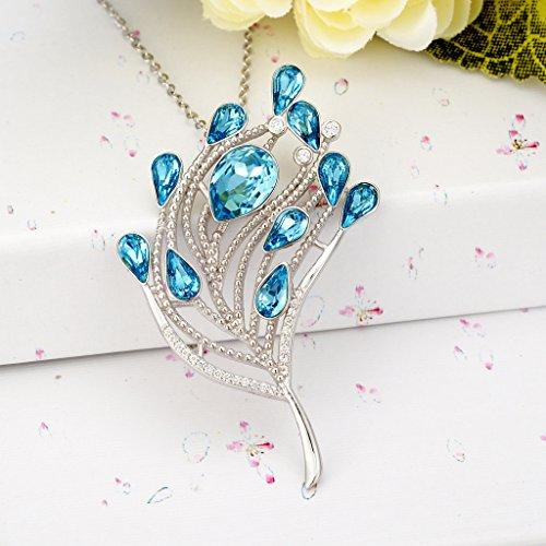 925 Sterling Silver CZ Leaf Teardrop Pendant Adjustable Necklace Aquamarine Color Adorned with Swarovski crystals