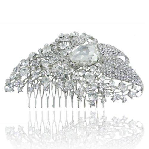 4.8 Inch Bridal Silver-Tone Flower Cluster Drop Clear Austrian Crystal Hair Comb