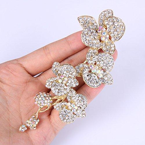 5 Inch Flower Orchid Clear Austrian Crystal Brooch Pendant Gold-Tone