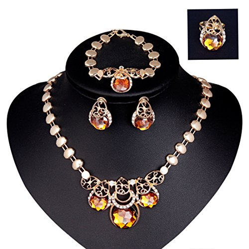 Women's 4Pcs Yellow Drop Rhinestone Collar Necklace Earrings Bracelet Ring Jewelry Set - InnovatoDesign