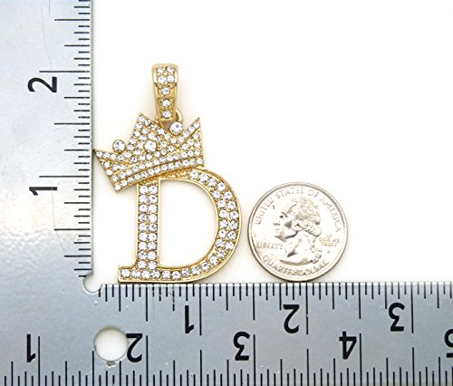 Iced Out King Crown Alphabet Initial D Pendant 24 Various Chain Necklace in Gold, Silver Tone - InnovatoDesign