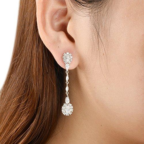 925 Sterling Silver Pave CZ Classical Gatsby Inspired Chandelier Bride Earrings Clear