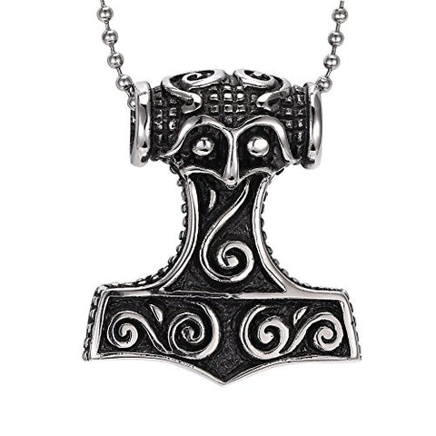 Stainless Steel Viking Thor's Hammer Amulet Pendant Necklace