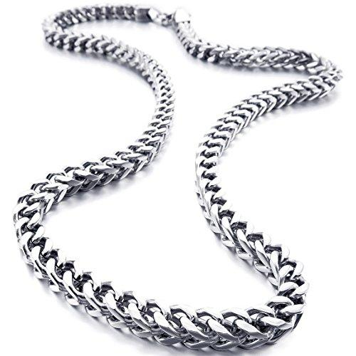6mm Wide Stainless-Steel Necklace Curb Chain Link Silver-Tone