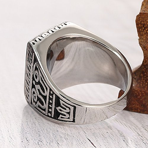 Men's 316l Stainless Steel Ring Crystal Greek Engraved Vintage, Classics Double Bird Ring,silver Black