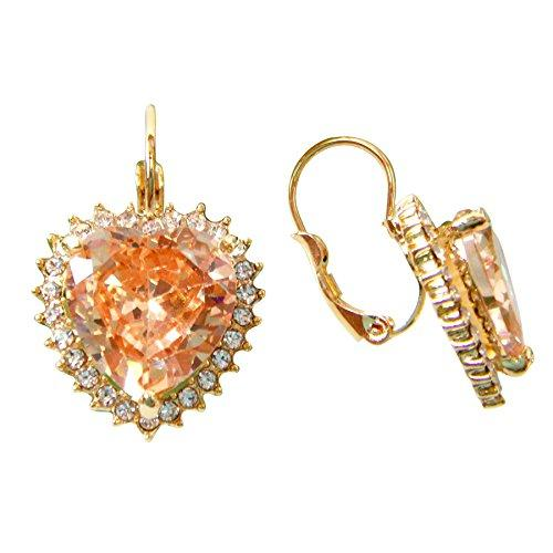 18k Gold Plated Heart Champagne Zircon Crystal Az2827e Leverback Earrings