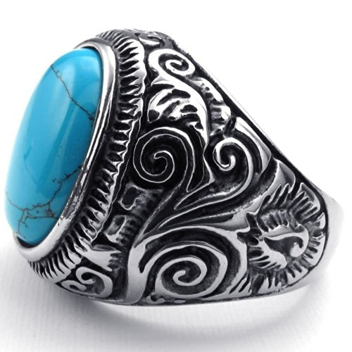 Men Stainless Steel Ring, Classic Vintage, Blue - InnovatoDesign