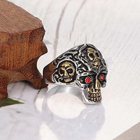 Men's Two Tone Stainless Steel with Cubic Zirconia Skull Ring