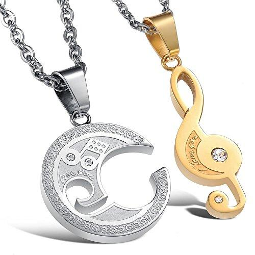 2pcs Men Women Couples Music Stainless Steel Pendant Love Necklace, 18 & 22 inch Chain
