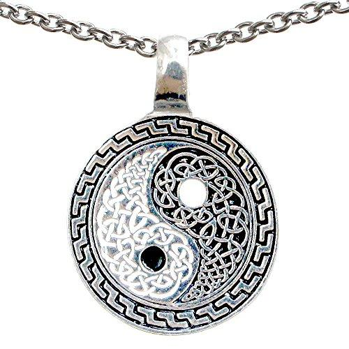 Celtic Yin Yang Taoist Pewter Pendant Charm Amulet Stainless Steel Chain Necklace
