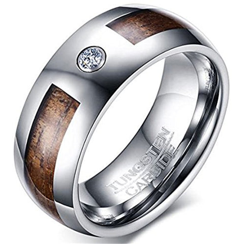 Silver Tungsten Carbide Cubic Zirconia and Wood Inlay Wedding Band