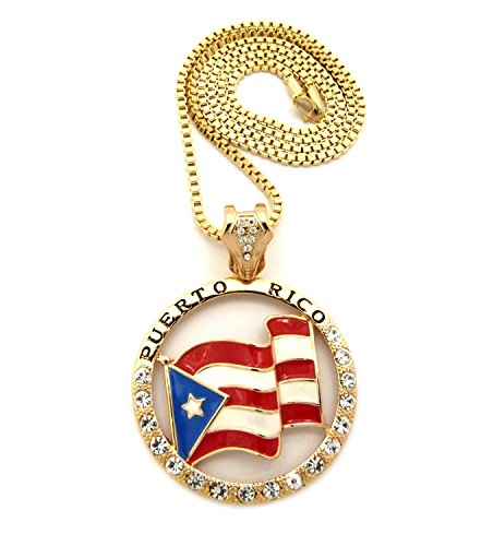 Micro Iced Out Puerto Rico Flag Pendant 3 mm 30 Box Chain Necklace Gold Tone - InnovatoDesign