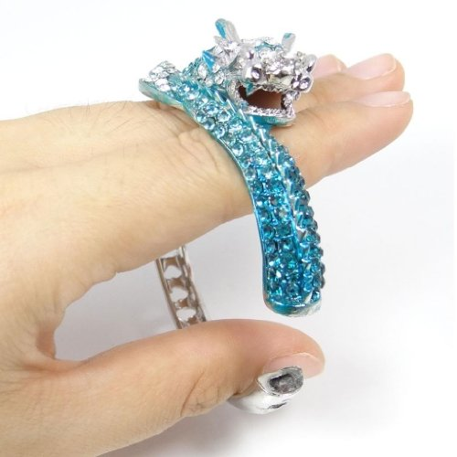 Women's Austrian Crystal Cool Animal Fly Dragon Bangle Bracelet Silver-Tone - InnovatoDesign