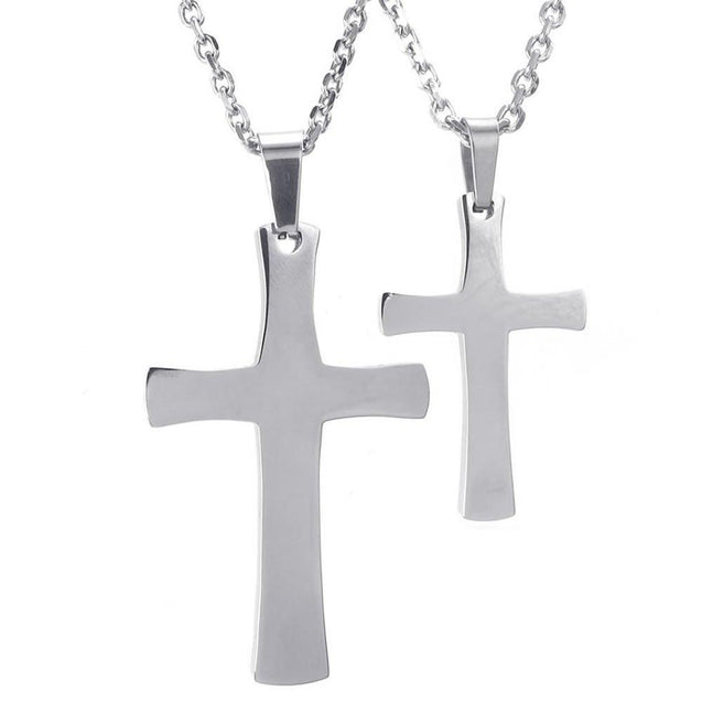 2pcs Men Women Couples Stainless Steel Cross Pendant Love Necklace, 18 & 22 inch Chain