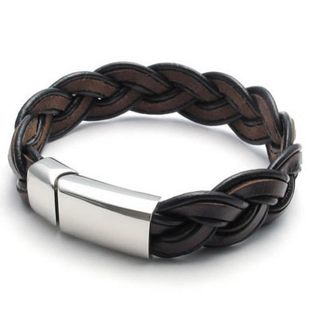 "Brown Leather Men Bracelet Bangle Stainless Steel Clasp, 16mm - 8"", 8.5"", 9"" inches"