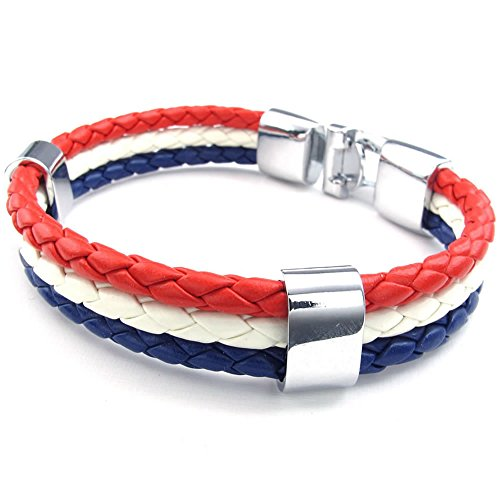 "Men Women Feather Bracelet, French France Flag Cuff Bangle, Blue White Red, 8"" 8.5"" 9"""