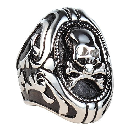 Men's Vintage Classic Gothic Cast Biker Skull Pirate Stainless Steel Ring Band Black