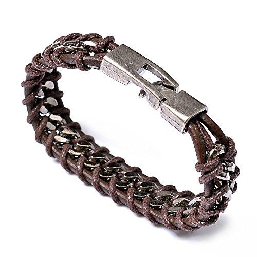 Fashion Leather Bracelet Bangles For Men Brown, Chain
