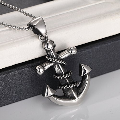 "Men's 316L Stainless Steel Large Heavy Rope Anchor Biker Pendant Necklace, 24"" Chain"