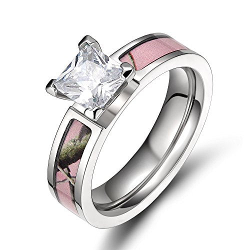 Pink Camo Titanium Rings for Women with Cubic Zirconia 5mm