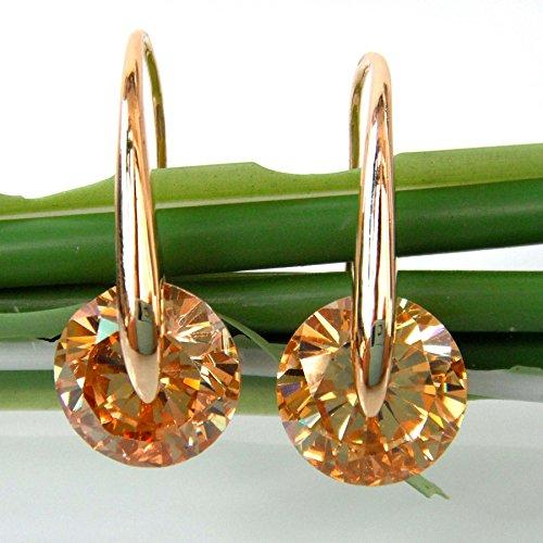 18k Gold Plated Champagne Circle Zircon Dangle Drop Earrings